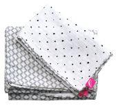 MOTHERHOOD Obliečky bavlnené mušelínové do postieľky Pre-Washed Grey Classics 2-dielne