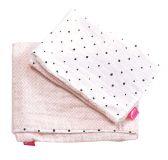 MOTHERHOOD Povlečení bavlněné mušelínové do postýlky Pro-Washed Pink Squares 2-dílné
