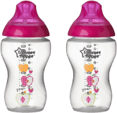 TOMMEE TIPPEE Kojenecká láhev s obrázky C2N, 2 ks, 340 ml, 3+ m-růžová