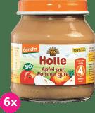 6x HOLLE Bio 100% Jabĺčko, 125 g - ovocný príkrm