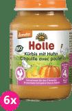6x HOLLE Bio Dýně s kuřecím masem - masový příkrm, 190 g