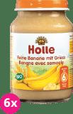 6x HOLLE Bio Jemné banány s krupicou, 190 g - ovocný príkrm