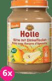 6x HOLLE Bio Hruška a špaldové vločky - ovocný příkrm, 190 g
