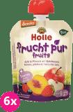 6x HOLLE Bio Jablko, broskyňa s lesnými plodmi, 90 g - ovocné pyré