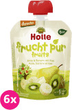 6x HOLLE Bio Ovocné pyré hruška, banán s kiwi, 90 g