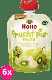 6x HOLLE Bio Hruška, banán s kiwi, 90 g - ovocné pyré
