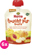 6x HOLLE Bio Ovocné pyré broskev, meruňka, banán se špaldou, 90 g