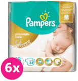 6x PAMPERS Premium Care 1 NEWBORN 88 ks (2-5 kg) VALUE pack – jednorazové plienky