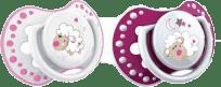 LOVI Silikónový cumlík dynamický Night&Day 6-18m 2 ks - ružová ovečka, dievča
