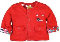 BOBOLI Oboustranný kabátek, kytička, vel. 86 cm - červená, holka