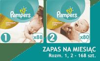 PAMPERS Premium Care 1 NEWBORN+Premium Care 2 MINI 168 szt., ZAPAS NA MIESIĄC - pieluchy jednorazowe