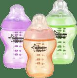 TOMMEE TIPPEE Dojčenská fľaša C2N 260ml, 3ks 0m + ružová, oranžová a zelená