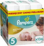 PAMPERS Premium Care 5 JUNIOR 136 szt. (11-18 kg), ZAPAS NA MIESIĄC - pieluchy jednorazowe