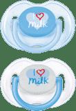 "AVENT Cumlík Text ""I love milk"" 2ks (silikón) 0-6 m, chlapec"