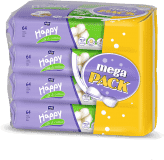 4x BELLA HAPPY BABY Vlhčené ubrousky hedvábí a bavlna 64 ks, MEGA PACK