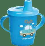 CANPOL BABIES Nevylévací hrníček TOYS – modrý (250 ml)