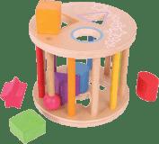 BIGJIGS Drevená motorická vhadzovacia hračka - Valec s tvarmi