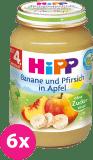 6x HIPP Jablká s banánmi a broskyňami (125 g) - ovocný príkrm