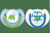 AVENT Cumlík Obrázok 2ks (silikón) 6-18m, slon modrý