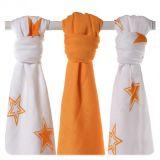 KIKKO Bambusové plienky Stars 70x70 (3 ks) – orange