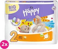 2x BELLA HAPPY Mini 2 (3-6 kg) Big Pack 78 szt. – pieluszki jednorazowe