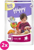 2x BELLA HAPPY Junior 5 (12-25 kg) Big Pack 58 szt. – pieluszki jednorazowe