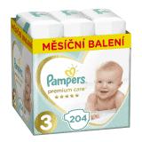 PAMPERS Premium Care 3 MIDI 204 ks (6-10 kg) MESAČNÁ ZÁSOBA – jednorazové plienky