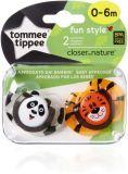TOMMEE TIPPEE Cumlík C2N silikon Fun 2 ks 0-6m – Panda-Tiger