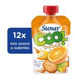 12x SUNAR Cool ovoce Pomeranč, Banán, sušenka (120g) - ovocný příkrm