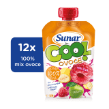 12x SUNAR Cool ovocie Malina-Banán-Jablko (120 g) - ovocný príkrm