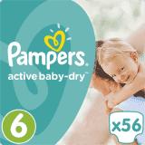 PAMPERS Active Baby 6 EXTRA LARGE 56ks (15+ kg) GIANT PACK - jednorázové plienky