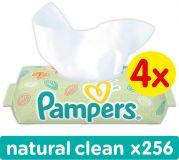 4x PAMPERS Natural Clean S VIEČKOM 64ks - vlhčené obrúsky
