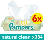 6x PAMPERS Natural Clean 64 szt. bez wieczka - chusteczki nawilżane