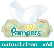 PAMPERS Natural clean 64 szt. bez wieczka - chusteczki nawilżane