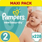 PAMPERS New Baby-Dry 2 MINI 228ks (3-6 Kg) MĚSÍČNÍ ZÁSOBA - jednorázové pleny