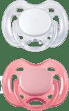 AVENT Cumlík Sensitive 2 ks (silikón) 0-6 m, ružový+biely