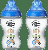TOMMEE TIPPEE Kojenecká láhev s obrázky C2N, 2 ks, 340 ml, 3+ m-modrá