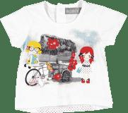 BOBOLI Triko s krátkým rukávem, kolo, vel. 80 cm - bílá, holka
