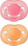 AVENT Cumlík Sensitive 2ks (silikón) 6-18 m, ružový+oranžový