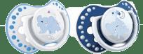 LOVI Cumlík silikónový symetrický dynamický Night&Day (0-3m) 2 ks - modrý sloník