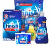 FINISH Starter pack dla zmywarki – tabletki 50 szt., sól, nabłyszczacz, odświeżacz, środek do czyszc