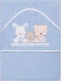 INTERBABY osuška dětská froté 100x100 love - modrá
