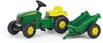 ROLLY TOYS Traktor z pedałami Rolly Kid John Deere z bocznicą - zielony