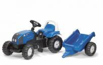 ROLLY TOYS Traktor z pedałami Rolly Kid Landini z bocznicą – niebieski