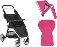 BABYSTYLE OYSTER Lite kočárek, silver + Adaptér na autosedačku + Colour pack, hot pink (2017)