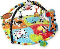BRIGHT STARTS Mata edukacyjna wspierająca rozwój z zabawkami na drążku Spots & Stripes Safari™ 0m+