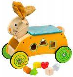 BIGJIGS Drevený motorický vozík Zajačik