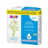 4x HIPP Babysanft Ultra sensitive (52 ks) - vlhčené ubrousky bez parfému