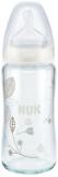 NUK First Choice+ láhev sklo 240 ml, silikon, velikost 1 (0-6 m), M - bílá