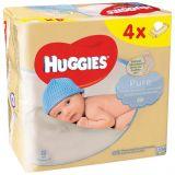 4x HUGGIES Quatro Pack Pure (56 ks) - vlhčené obrúsky